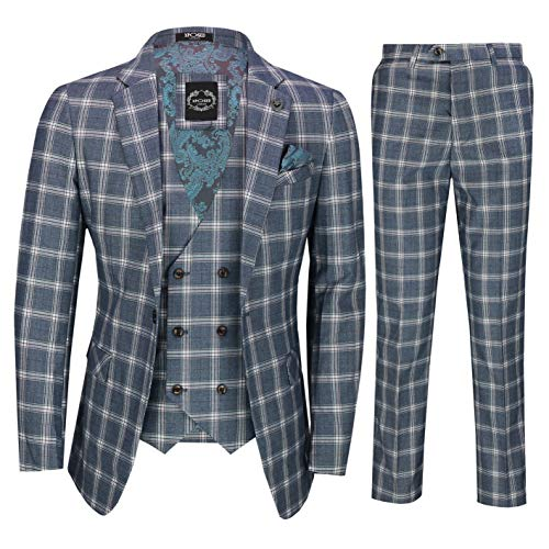 Xposed Männer Grau Blau Prince of Wales Überprüfts 3 Stück Zweireihiger Anzug Elegant Retro Maßgeschneidert [SUIT-905-2-C9-GREY-46UK]