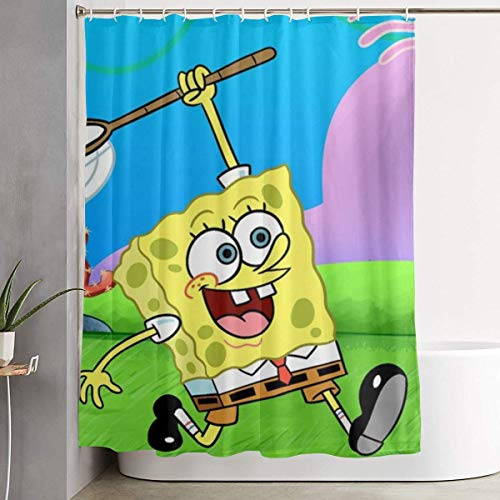 993 CCOVN Duschvorhang Spongebob Have A Nice Day Shower Curtain Decor for Men Women Boys Girls 60x72 in