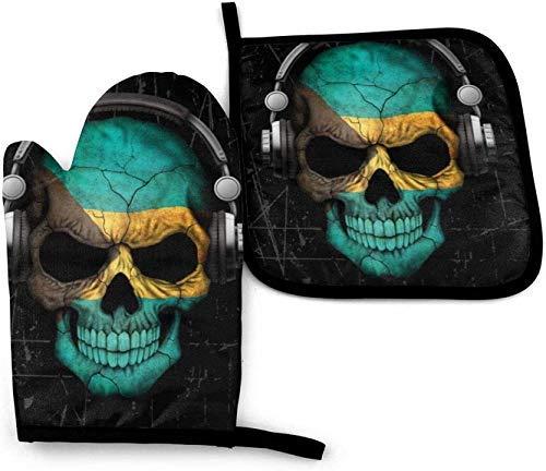 wenxiupin Rayado Bahamas DJ Skull Rayado húngaro DJ Skull Horno de microondas Mitones y Porta ollas Juego de Cubiertas Aislamiento térmico Manta
