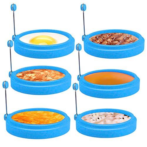 Laelr Lot de 6 moules à œufs anti-adhésifs en silicone pour œufs au plat Résistant à la chaleur Bleu 10,2 cm