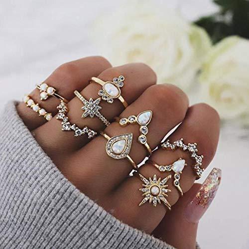 Runmi Boho - Juego de anillos para nudillos ovalados de oro, anillos apilables de cristal, accesorios de joyería para mujeres y niñas (paquete de 10)