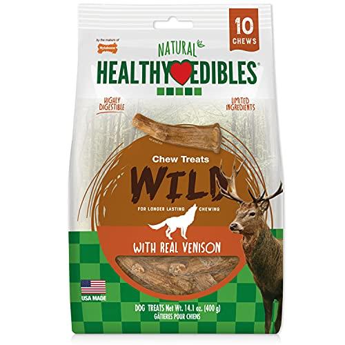 Nylabone Healthy Edibles WILD Antler Natural Long Lasting Turkey Flavor Dog Chew Treats 10 count Medium - Up to 35 lbs.