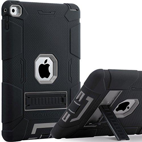BENTOBEN iPad Air 2 Hülle, iPad Air 2 Schutzhülle, iPad Air 2 Tablet Tasche mit Ständer Heavy Duty 3 in 1 Hybrid Hülle PC Silikon Cover rutschfest stoßfest Hülle für iPad Air 2 (A1566 / A1567) Schwarz