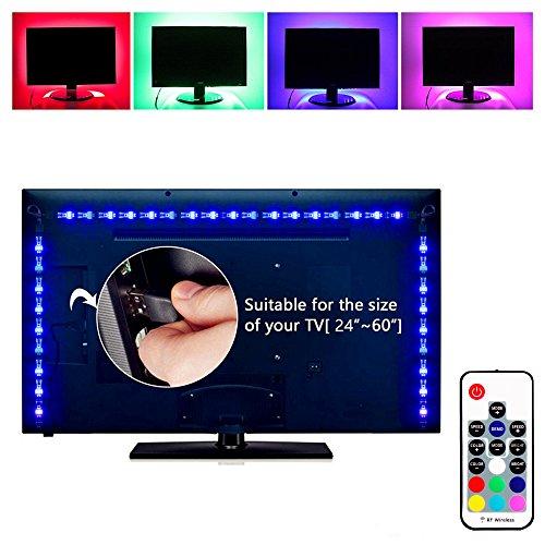 Preisvergleich Produktbild Elinkume® LED TV Hintergrund beleuchtung,  USB LED Streifen Lichter 6.56ft 2M 5050 RGB Licht Streifen Kit mit Fernbedienung für HDTV,  Flachbildschirm TV Zubehör,  Desktop Monitore PC (Multi Color)