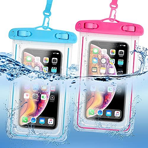 KEELYY Funda Impermeable Móvil Universal [2 Unidades] IPX8 Funda Acuatica Movil 6.7'' Bolsa Estanca Móvil Prueba de Agua para iPhone 12 11 XR X 8 7 Galaxy S21 S20 Xiaomi Huawei - Azul y Rosa