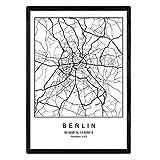 Nacnic Lámina Mapa de la Ciudad Berlin Estilo nordico en Blanco y Negro. Poster tamaño A3 Sin Marco Impreso Papel 250 gr. Cuadros, láminas y Posters para Salon y Dormitorio