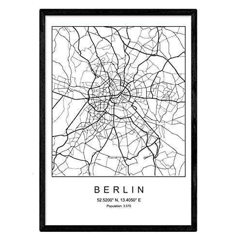 Kunstdruck Berlin Stadtkarte Nordic Schwarz Weiß Poster A3 Gerahmt mit schwarzem Rahmen Druck Papier 250 gr. Bilder, Folien und Poster für Wohnzimmer und Schlafzimmer