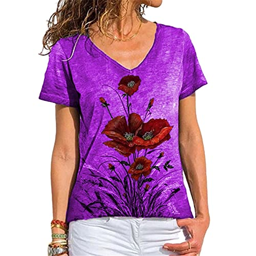 Qienjn Women T-Shirt Elegant Loose Comfortable Breathable V-Neck Short Sleeve Ladies Blouse Summer Fashion Flowers Print New Chic Women Shirt Women Top E-Purple M