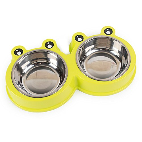JMAHM hond kom huisdier kom kat roestvrij staal dubbele kom kommen voor hond eten en water