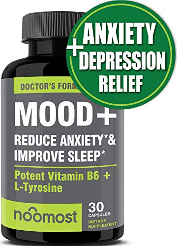 Mood Support - Anxiety Relief Supplement Mood Boosts, Reduces Stress Relief & Depression - L Tyrosine, Ashwagandha, 5 HTP, Passion Flower, L Theanine, GABA, Valerian Root, Rhodiola Rosea by NooMost