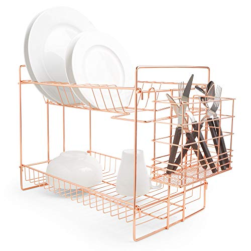 VonShef Rose Gold Dish Drying Rack Sink Organiser - 2 Tier Copper Kitchen Sink Organiser with Cutlery Drainer – Space Saving for Kitchen and Sink - Anti Rust