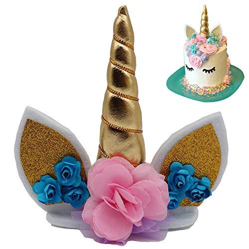WELL BUY Decoración para Tarta de Unicornio Decoración Pasteles Unicornio, Decoración de Unicornio para Pastel Fiesta Boda y Cumplea?os,Decorativo Que Incluye Cuerno Orejas y pesta?as de Unicornio