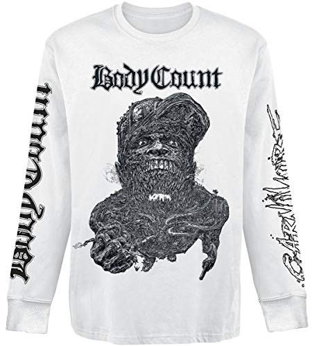 Body Count Carnivore Hombre Camiseta Manga Larga Blanco S, 100% algodón, Regular