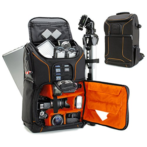 USA GEAR SLR Camera Backpack Case (Orange) - 15.6 inch Laptop Compartment, Padded Custom Dividers, Tripod Holder, Rain Cover, Long-Lasting Durability and Storage Pockets - Compatible with Many DSLRs