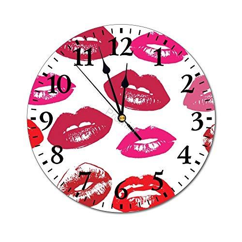 Promini Fashion PVC wandklok VI-288 lippen ronde muur klok niet tikken stille decoratieve wandklok voor keuken/woonkamer/slaapkamer/kantoor/school