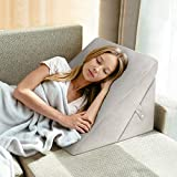 OasisCraft Bed Wedge Pillow, 8&12 Inch Adjustable Memory Foam Sleeping Pillow Folding Incline Cushion System for Legs with Washable Removable Cover - Back Pain, Snoring, Acid Reflux, Reading