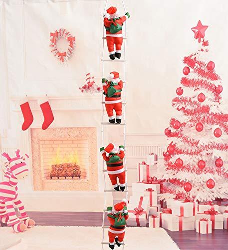 kungfu Mall 4PCS Scala di Arrampicata su Scala di Babbo Natale Scala di Arrampicata Babbo Natale Figurine di Natale Ornamento Decorazione per Decorazioni Natalizie, 1 Pezzo di Sacco di Babbo Natale