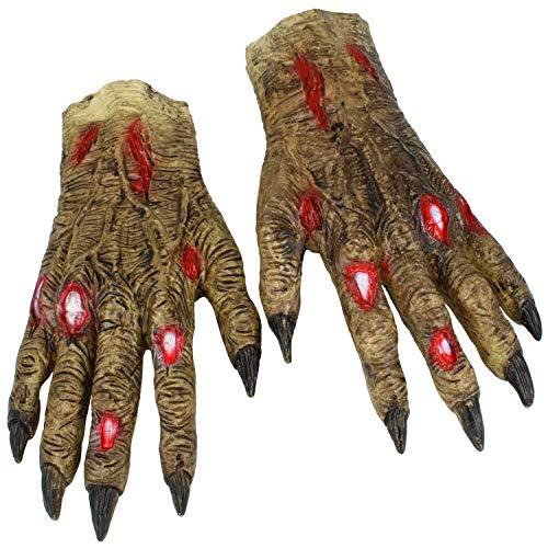 com-four® Gruselige Zombie Hände, Handschuhe aus Latex, realistische Horror-Monsterhände als Erweiterung zum Kostüm für Halloween, Motto-Partys, Karneval, Fasching (01 Stück - Handschuhe)