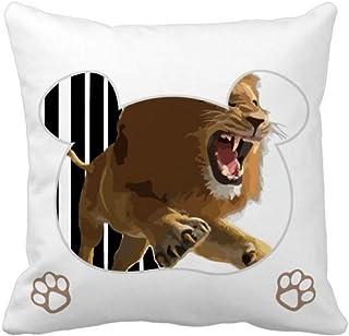 OFFbb-USA Feline Lions Leap Ferocious Bear - Funda de almohada cuadrada