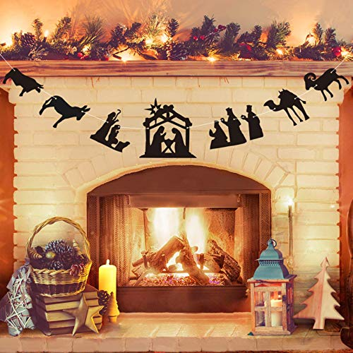 Nativity Sets for Christmas Indoor - Traditional Nativity Scene Banner - Xmas Decorations Indoor for Farmhouse Home Office Party Fireplace Mantle