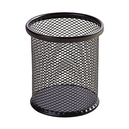 オフィス デスクオーガナイザー ペン立て シンプルでクリエイティブ 金属メッシュ ペンスタンド (ペン立て) 丸型 ブラック