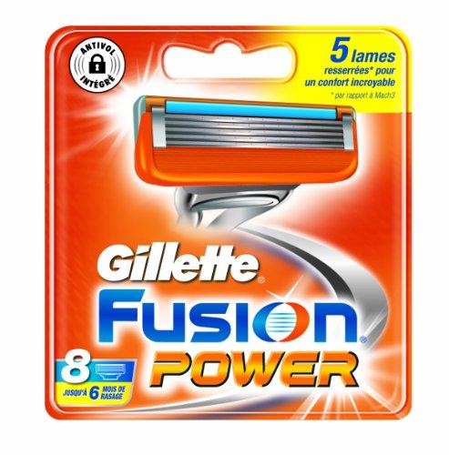 Gillette fusion power - Recambios para cuchillas de afeitar (testados dermatológicamente, 8 unidades)