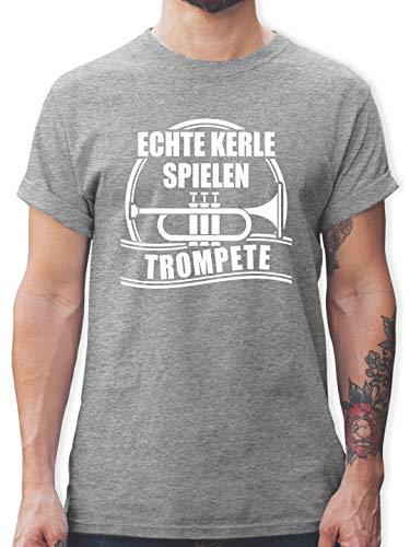 Instrumente - Echte Kerle Spielen Trompete - M - Grau meliert - t-Shirt Herren trompete - L190 - Tshirt Herren und Männer T-Shirts