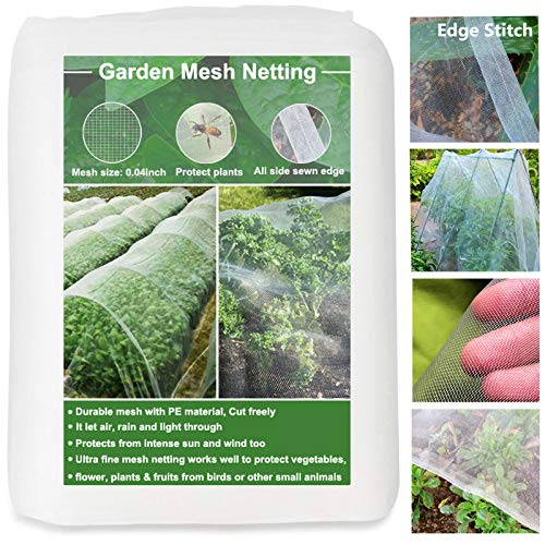 Huouo Garden Mesh Insect Netting, Edge Stitch 10'x20' Garden Bug Enviromesh Netting for Protect Plants Vegetables Trees Fruits Crops Gazebo Screen Barrier Net Patio Row Covers