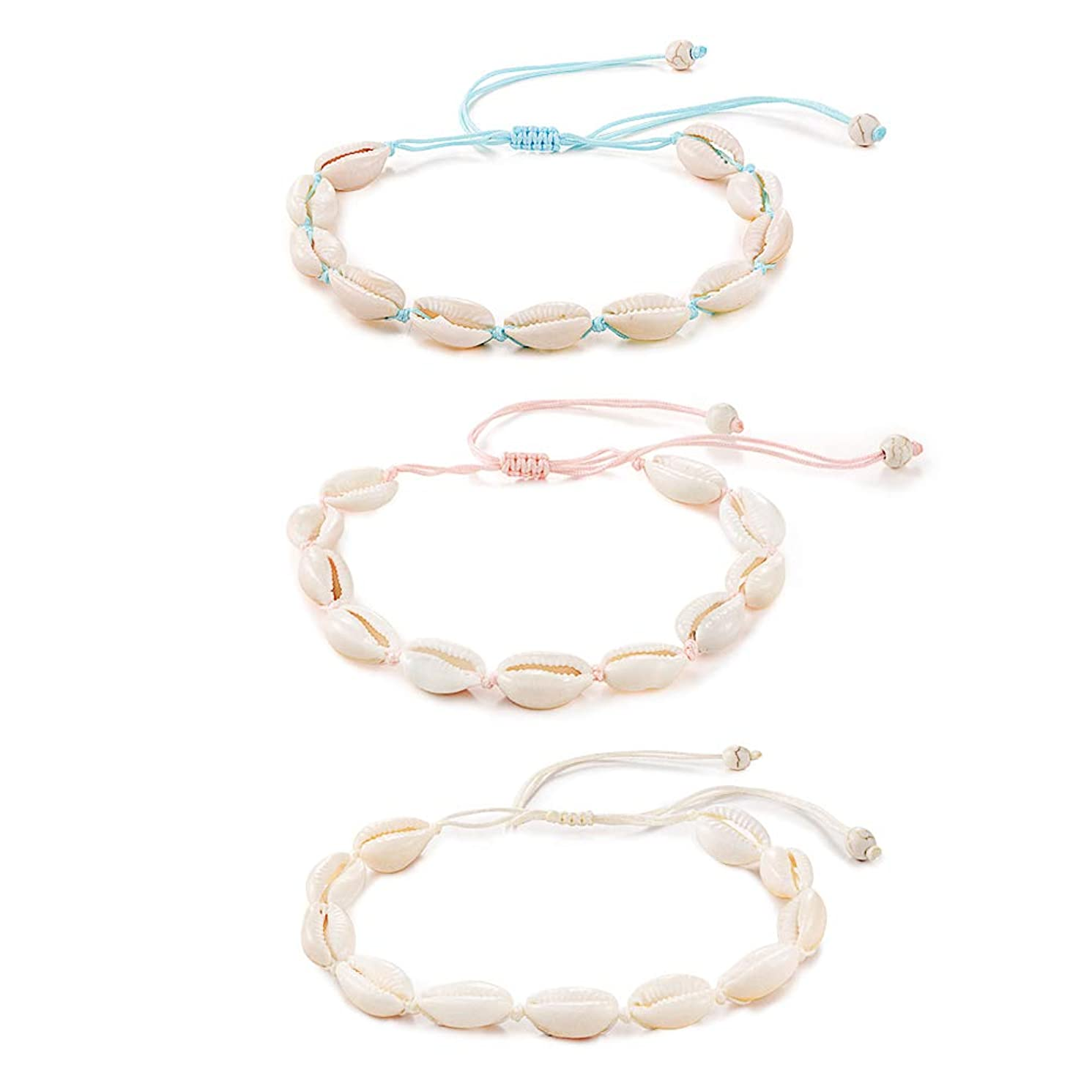 Tarsus Natural Cowrie Shell Adjustable Anklet Bracelets Handmade Boho Beach Bracelet for Women Teen Girls 3 Pcs
