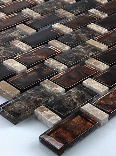 Glasmosaik Mosaikfliesen Glasfliesen Glasmosaik marmoriert Hell-Dunkel Braun, Beige 30x30 Neu