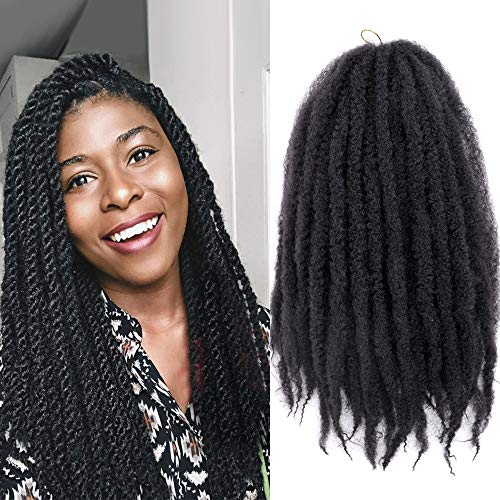 KGBFASS 3Packs Marley Braiding Hair 18Inch Afro Marley Hair For Twists Synthetic Kinky Braiding Hair Extensions (#1B)