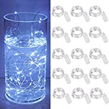 Micro Starry String Lights, 15 Pack 30 LED Battery Operated String Lights(Included), Waterproof Fairy Wire Lights for Mason Jar DIY Party Garden Wedding Table Indoor&Outdoor Decorations (Cold White)