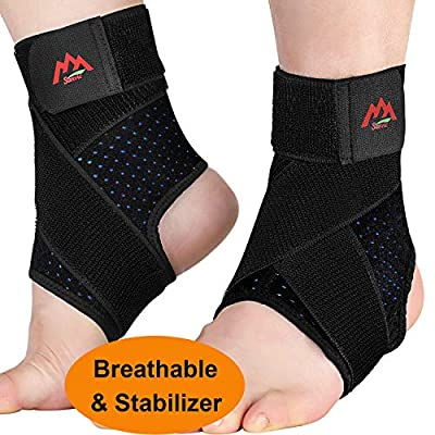 Ankle Brace, 2pcs Breathable & Adjustable Ankle Support for Men & Women, Strong Compression Ankle Support Wrap for Sprained Ankle, Plantar Fasciitis, Sports.