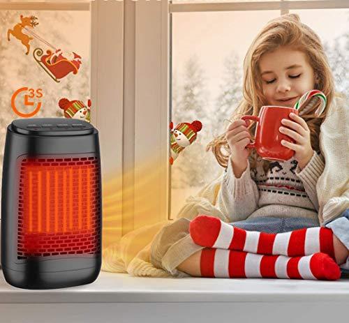 Mini Estufa Eléctrica, Parkarma Calefactor Cerámico 1200W Bajo Consumo Claentador Eléctrico Calefactor Portátil Eléctrico Rápido de 3s Bajo Consumo con Protección para Oficina/Casa/Garaje/Camper