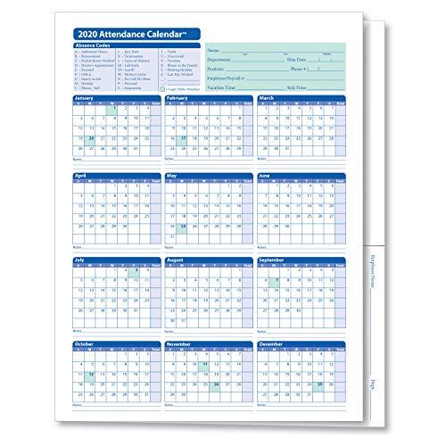 ComplyRight 2020 Attendance Calendar Folder, White, Pack of 25 (A30502020AMZ)