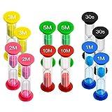 LISOPO 12pcs Sabliers Minuterie Horloge de Sable Hourglass 30 Sec / 1 Minute / 2 Minutes / 3 mins / 5 Minutes / 10 Minutes Désigné pour Jeux,Cuisine, Exercice