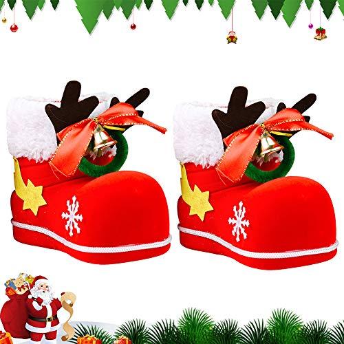 BETOY Calze di Natale, 2 Pezzi Natale Calza di Caramelle Sacchetto di Caramelle per Albero di Natale per Decorazioni da Appendere per la Casa e L'Albero di Natale, 12 x 10 x 7 cm(Rosso)