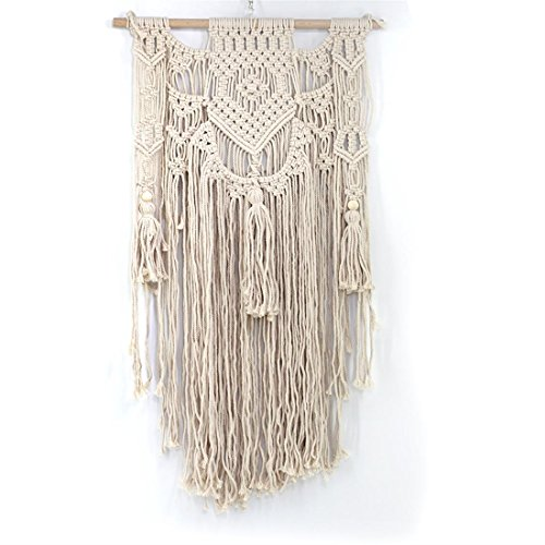 SHINAHUATONGマクラメ壁掛けタペストリーウォールデコレーション自由シックな手作りコットン織ボヘミアンホームデコレーション、木製のダボが含まれています