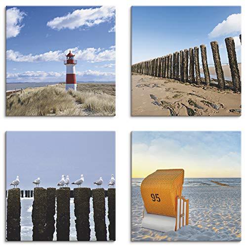 Artland Leinwandbilder auf Holz Wandbild Bild Set 4 teilig je 20x20 cm Quadratisch Landschaft Strand Blau Leuchtturm Sylt Vogel Möve Strandkorb K2YI