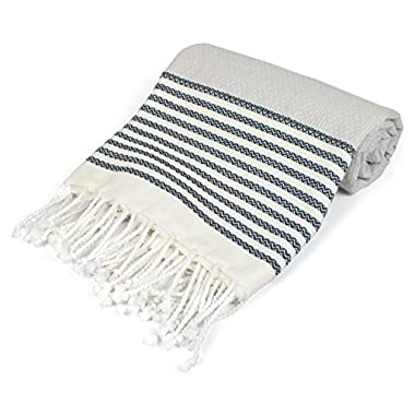 DII Peshtemal Turkish Super Soft, Absorbent, Oversized Bath Towel, Throw, & Blanket Fringe For Chair, Couch, Picnic, Camping, Beach, Yoga, Pilates, & Everyday Use , 39 x 71  - Navy Stitched Stripe