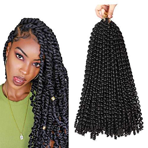 18Inch 6Pack Passion Twist Crochet Hair Water Wave Ombre Twist Crochet Bohemian Curly Braids Hair Pre-looped Long Bohemian Hair Kanekalon Fiber Hair Extension (1B)