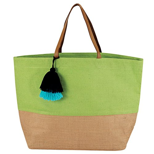 Mud Pie 8613351GR Color Block Jute Tote Bag, Green