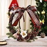 BUANFUA Corona de flores de Navidad corona de puerta con corona de festival para puerta delantera, boda, pared, decoración del hogar