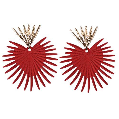 ZSDFW Pendientes de mujer con forma de abanico punk para mujeres y niñas, accesorios de regalo, color rojo
