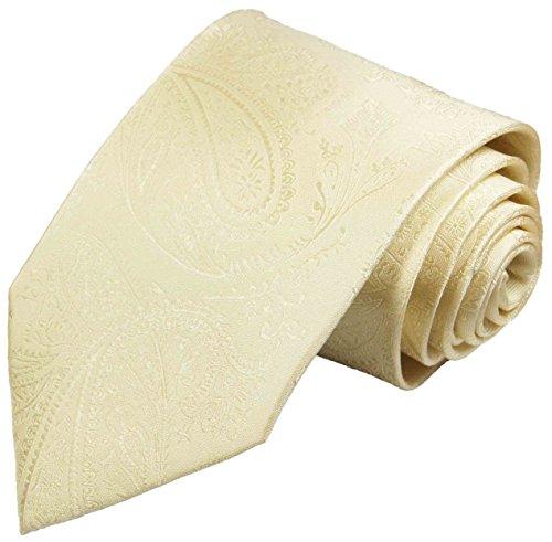Paul Malone Krawatte creme paisley Hochzeitskrawatte Bräutigam (schmale 6cm)