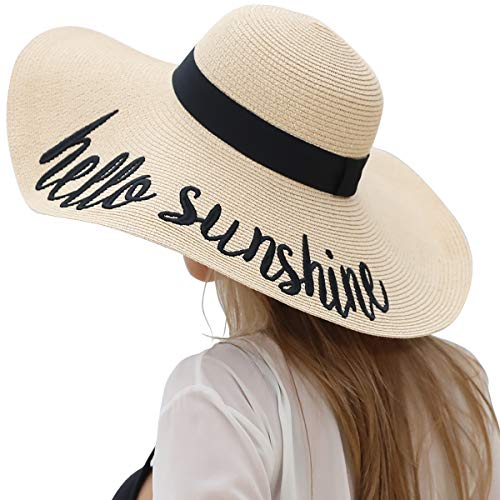 Lanzom Womens 5.5 Inches Big Bowknot Straw Hat Large Floppy Foldable Roll up Beach Cap Sun Hat UPF 50+(Y-Hello Sunshine Beige)