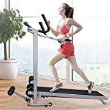 US Fast Shipment Walking Treadmill,330Lb Weight Capacity W/LED Display,Mechanical Compact & Inclined,Non-Motorized Treadmills,Adjustable Straight/Curved Armrest