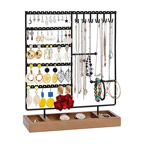 X-cosrack Earring Holder,5-Tier Ear Stud Holder with Wooden Tray,Jewelry Organizer Holder for Earrings Necklaces Bracelets Watches and Rings,Earring Display Stand with 132 Holes,Black