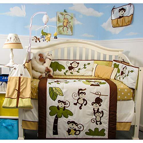SoHo Baby Crib Bedding 9 Piece Set, Curious Monkey
