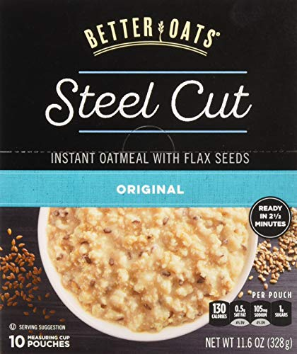 Better Oats Steel Cut Oats with Flax Classic 10 Pouches 116 oz Pack of 2